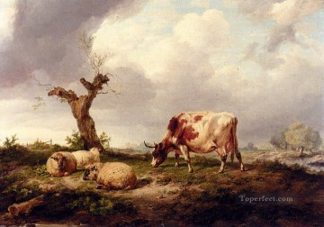 Cooper Art - A Cow With Sheep In A Landscape farm animals cattle Thomas Sidney Cooper